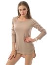 Nuova T-shirt Donna Solid O-collo di colore a maniche lunghe ad alta-bassa Pullover Hem camicetta casual Top beige / grigio / viola