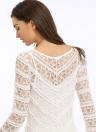 Новая мода женщины платье Sheer Кружева вокруг шеи Flare рукавом Макси Свинг длинное платье белый