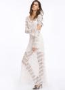 Neue Art und Weise Frauen-Kleid bloße Spitze Rundhalsausschnitt-Aufflackern-Hülsen-Maxi-Schwingen-langes Kleid Weiß