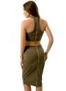 Off Shoulder Back Zipper Halterneck Skirt Set