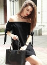 Self Tie Cuff Off Shoulder Casual Dress