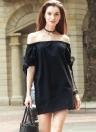 New Fashion Dress Women Slash Neck Tie Auto Cuff Off épaule court manches Casual Robe ample noir