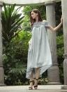 New Moda feminina Midi Vestido Off Shoulder Lace Splice manga curta sólida Partido solto vestido longo cinza