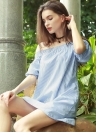 New Fashion Dress Women Slash Neck Striped Three Quarter Sleeves élastiques poches Casual robe ample bleu