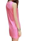 Mini-robe d'été Débardeur Femmes Robe col en V manches bord festonné Sundress droite Robe chasuble rose