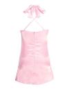 Neue reizvolle Frauen Beleg-Kleid mit tiefem V-Ausschnitt Criss Cross Choker Spaghetti-Bügel aus Seide und Satin A-Line Shiny Partei-Minikleid