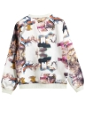 Neue Frauen Bomberjacke Drucken Zipper-Rundhalsausschnitt mit langen Ärmeln Baseball-Mantel Outwear Schwarz / Weiß