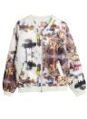 New Mulheres Bomber Jacket Imprimir Brasão Zipper em torno do pescoço de manga comprida Baseball Outwear Preto / Branco