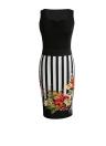 Mulheres vestido floral Contraste listrado impressão emenda Zipper Ruched Praça Collar mangas Midi vestido preto / amarelo