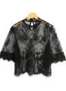 New Women Sexy Sheer Lace Blouse Broderie col haut moitié manches Mesh Shirt Clubwear Top Noir