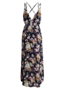 Anself Floral Print Spaghetti Strap Casual Maxi Dress