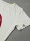 Forme a mujeres cortos de la camiseta del labio Apliques o cuello mangas cortas ocasionales flojas Top Camiseta blanca suave