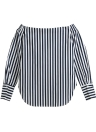 Anself Off Shoulder Stripe Curved Hem Blouse