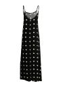 New Women Slip Dress Dot réglable Spaghetti Strap dos ouvert Big Swing longue robe noire