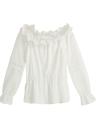 Nouveau Mode Femmes Blouse Encolure dentelle crochetée Splice évider Flare à manches longues élégant Shirt T-Shirt Tops Blanc