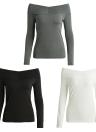 Off Shoulder Solid Color Long Sleeve Slim Bodycon Tops