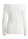 Neue reizvolle Frauen weg vom Schulter-T-Shirt Solid Color lange Hülsen-dünne Hautenges Spitzen T Weiß / Schwarz / Grau