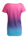 Rainbow Gradient Ruffled O-Neck T-shirt