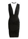 V-Neck Choker Twist Bandage V Back Nightclub Mini Dress