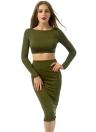 Crop Sexy Women Two Pieces Set dos ouvert Criss Cross Haut à manches longues moulante Pencil Skirt Set Army Green