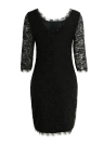 Lace Solid Sheath Evening Party Mini Dress