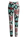 Мода женщин поножи контраст Цвет печати Фитнес спортивные брюки Эластичный Кадрированные Йога Брюки