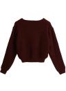 Новая зима Женщины трикотажные свитера Твердая O-образным вырезом с длинными рукавами Элегантный пуловер Топы Трикотаж Бургундию