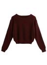 Maglione nuova delle donne inverno solido O-Collo maniche lunghe elegante Pullover Tops Maglieria Borgogna
