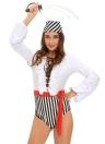 Traje de Pirata de nuevo de las mujeres de Halloween travieso Hundiendo V-cuello de las colmenas con cordones de las mangas sueltas de tres piezas blanca determinada