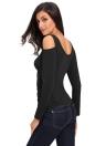 Cross Ruched Front Cut Out Cold Shoulder Women's Blouse