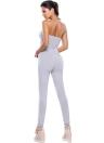 Новые женщины Rompers Комбинезон Капри Длинные брюки Вырез без бретелек Bodysuit Фитнес Bodycon Серый костюм для подвижных игр