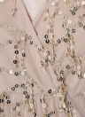 Sequin Tassel Mesh Deep V Neck Elasticated Waist Sheer Long Sleeve Rompers