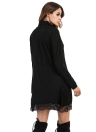 High Neck Lace Trim Long Sleeve Party Mini Black Dress