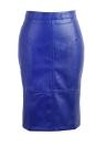 PU Press Stud Zipper Slit Back High Waist  Bodycon Midi Skirt