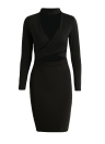 New Women Sexy solide Cross Dress Cut Out Halter manches longues Bodycon Nightclub Party Midi Robe crayon noir