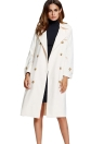 Notch Lapel Button Pocket Split Hem Loose Long Trench Coat