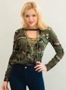 Forme a mujeres del camuflaje de manga larga de la camiseta del cuello hasta la Cruz del cordón delgado atractivo Impreso tapas de la camiseta verde del ejército