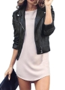 Veste femme en cuir à glissière latérale
