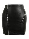 Las nuevas mujeres de la PU de la cremallera de la falda de cuero ajustado de la falda de la cintura de altura media noche color sólido del club de Clubwear Negro