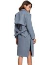 Woolen Notched Collar Belt Split Hem Pocket Long Trench Coat
