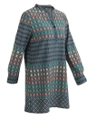 Vintage Geometry Print Stand Collar Button Long Sleeve Shift Dress