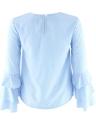 Neue Art und Weise Frauen Ausgestelltes Langarmbluse O Ansatz Keyhole-Rückseite Körper Dame Casual Bluse Top Light Blue