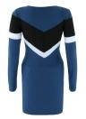 Sexy Contrast Mini robe moulante Femmes Couleur Splice O-Neck manches longues Casual Parti Robe crayon bleu foncé