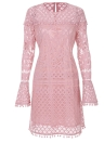 Women Elegant Sheer Lace Pom Trims O Neck Long Sleeve Lined Party Mini Dress
