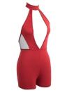 Sexy Playsuit Plunge V Front Chocker Malla de cuello alto Mesh Open Bodycon Clubwear