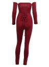 Sexy Off Shoulder Jumpsuit sin respaldo del vendaje Bodycon mono traje Catsuit