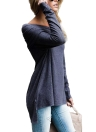 Women Off The Shoulder Long Sleeve T-Shirt  Asymmetric Ruched Long T-Shirt Tops