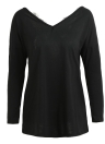 Women Sexy Backless T-Shirt V Neck Long Sleeve Eyelash Lace Splice Casual Top Tee