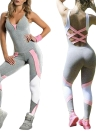 Yoga Set Contraste Color Bandage Backless sem mangas pijamas de ginástica Bodysuits