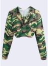 Felpa con cappuccio da donna Fashion Camouflage Print Crop